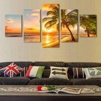 4 sztuk zestaw wschód słońca kokosowe rozdzielczości zdjęcia na płótnie Home Decor ścienne Living Room modułowa Cuadros malowanie druku w Malarstwo i kaligrafia od Dom i ogród na