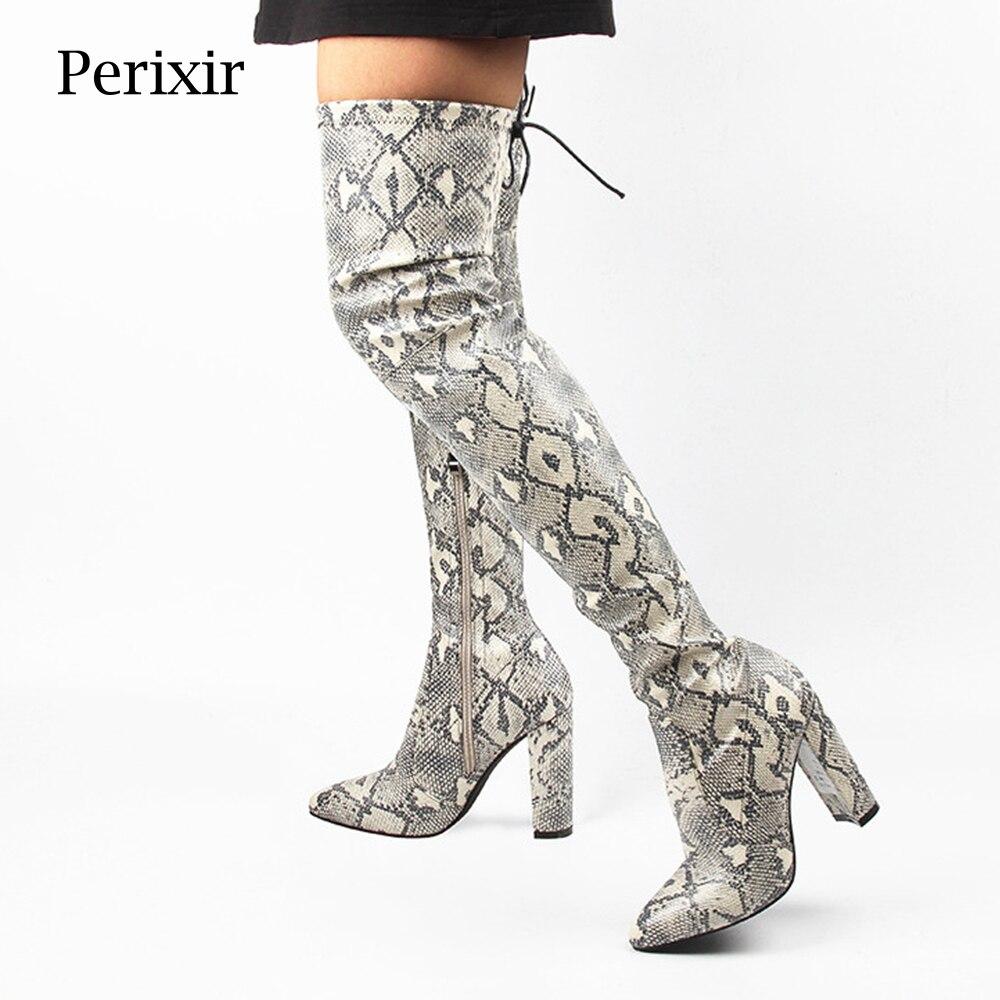Ayakk.'ten Diz Üstü Çizmeler'de Perixir Kadınlar Yılan Diz Üzerinde Yüksek Çizmeler Kış Moda PU Yüksek Topuklu Çizmeler 10 CM Sivri Burun Kare Topuk Sıcak bot Ayakkabı'da  Grup 1