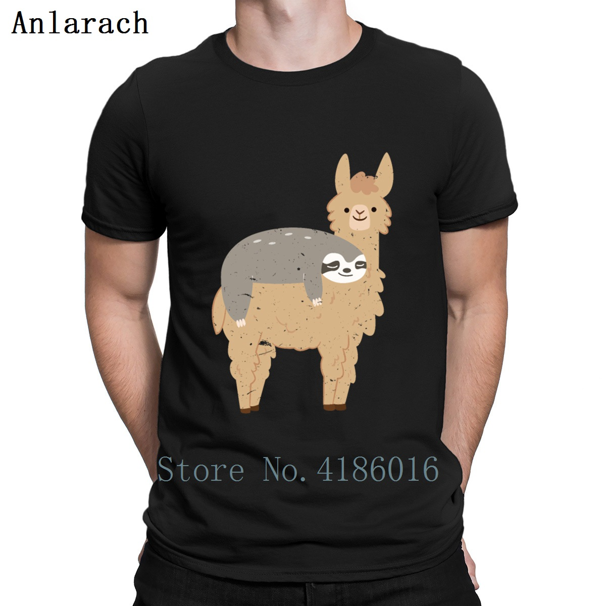 Cute And Funny Sloth Riding A Llama Graphic Tee T Shirt Men's Character Streetwear Custom Shirt Men Tops Spring 2019 Family