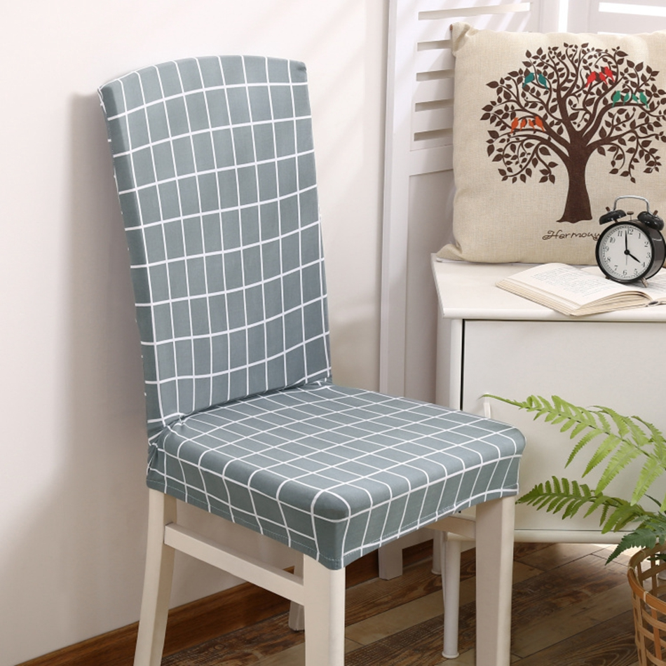 AGCSGD Grey Plaid Chair Covers For Living Room Universal