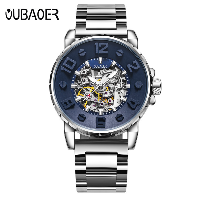 OUBAOER Brand Men watches Automatic mechanical watch Sport Casual business wristwatch Black clock hours relojes hombre 2017 luxury brand lovers watches men women automatic mechanical watch fashion casual clock male wood wristwatch relojes hombre