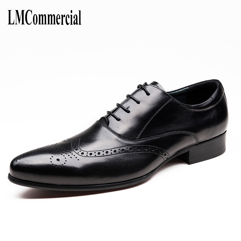 men's genuine leather business shoes suits men's shoes spring and autumn all-match cowhide Lace-Up Men Dress Shoes 2017 men shoes fashion genuine leather oxfords shoes men s flats lace up men dress shoes spring autumn hombre wedding sapatos