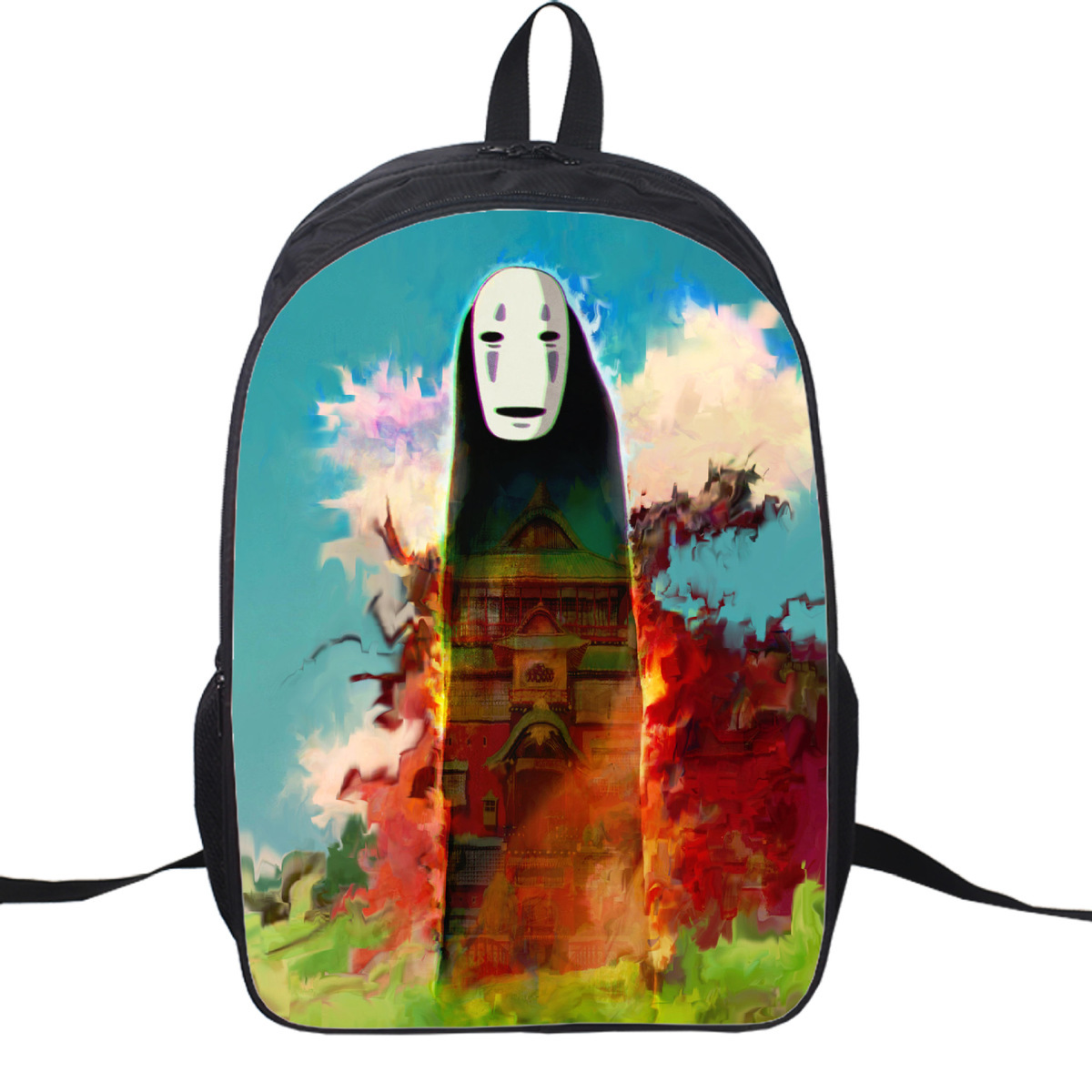 Japan Anime Miyazaki Totoro Spirited Away No Face Zipper Cute Canvas Cartoon Adult Double Belt Backpack School Bag 8 style ...
