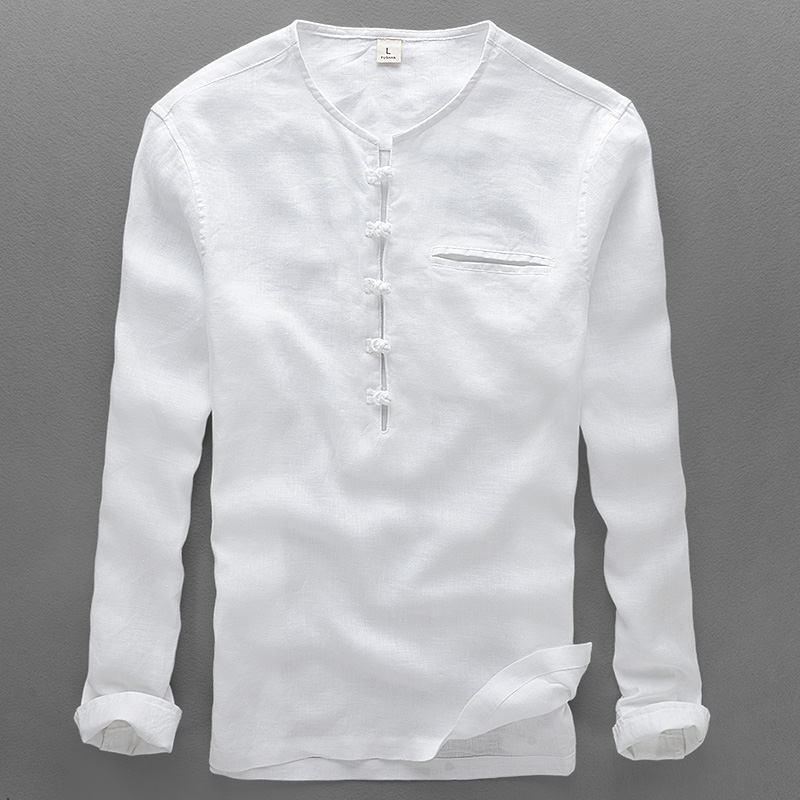 2017 new style linen shirt men casual white shirts men for Mens long sleeve white shirts