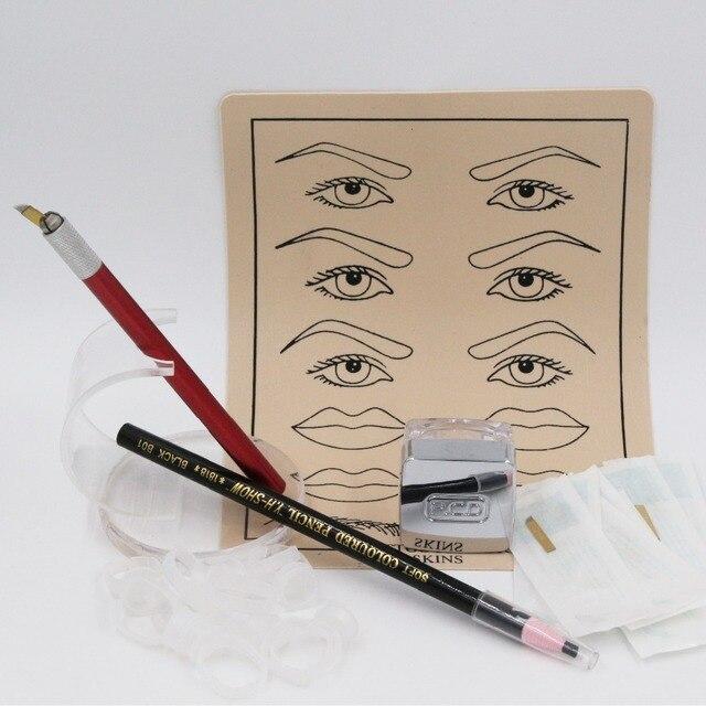 Бровей перманентный макияж комплект 3D бровей макияж ручка с 10 шт. лезвие иглы и 1 шт. карандаш для бровей и 1 шт. татуировки паста