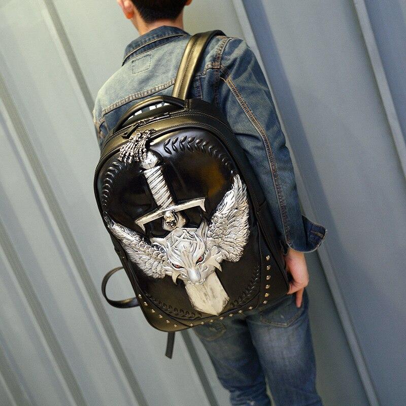 Nouveau sac à dos en simili cuir polyuréthane hommes 3D loup voyage ordinateur sac chic cool rivet sac à dos rock sac à bandoulière