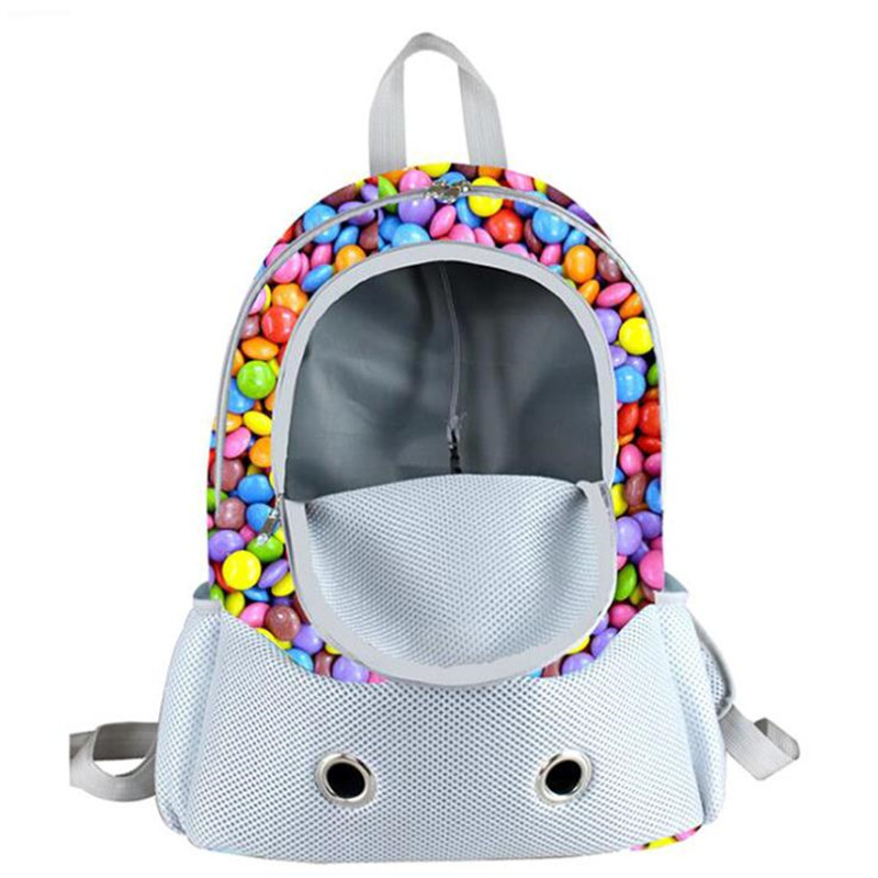Pet Dog Fashion Carrier Beautiful Print Travel Dog Backpack Breathable Pet Bag Double Shoulder Pet Bag PB715