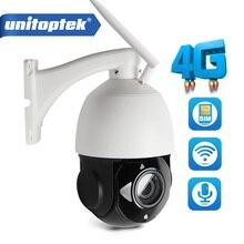 UNITOPTEK HD 1080 P 4G WIFI Kamera CCTV Telefonu SIM Kart PTZ Speed Dome Kablosuz IR Açık 4X 18X Optik Zoom SD Kart ses