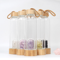 2019 Natural Crystal Quartz Crystal Gemstone Bamboo Glass Water Bottle Elixir Quartz Crystal Water Bottle Support Drop shipping