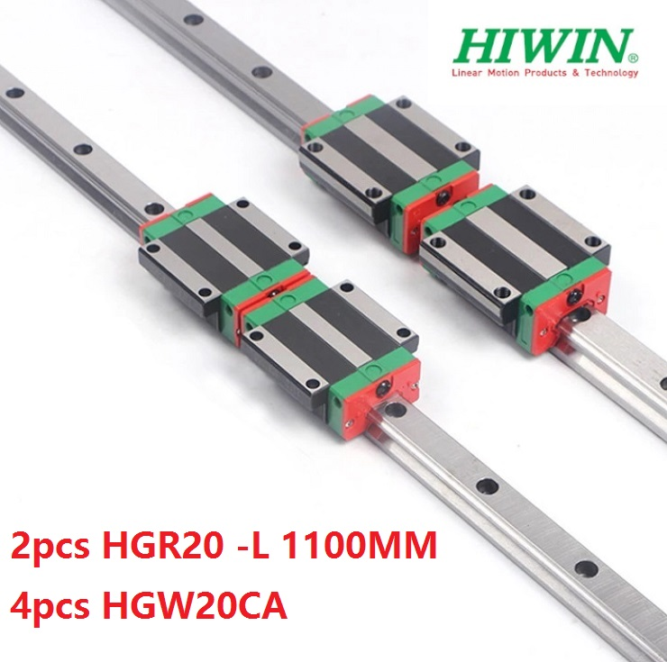 2pcs Taiwan Hiwin linear guide rail HGR20 -L 1100MM + 4pcs HGW20CA/HGW20CC linear flanged blocks for cnc2pcs Taiwan Hiwin linear guide rail HGR20 -L 1100MM + 4pcs HGW20CA/HGW20CC linear flanged blocks for cnc
