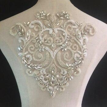 Deluxe Rhinestone bodice applique, crystal applique, crystal bodice applique for wedding dress, heavy bead applique bodice фото
