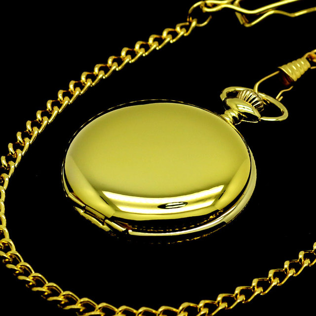 Fashion Smooth Gold Case Quartz Pocket Watches with Chain for Men Cool Fob Watch