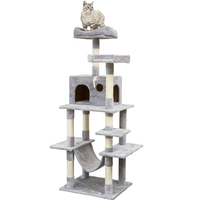 Cat Tree Condo Furniture Kitten Activity Tower, Pet Cat Tree with Sisal Covered Scratching Posts Plush Perches Hammock and Condo