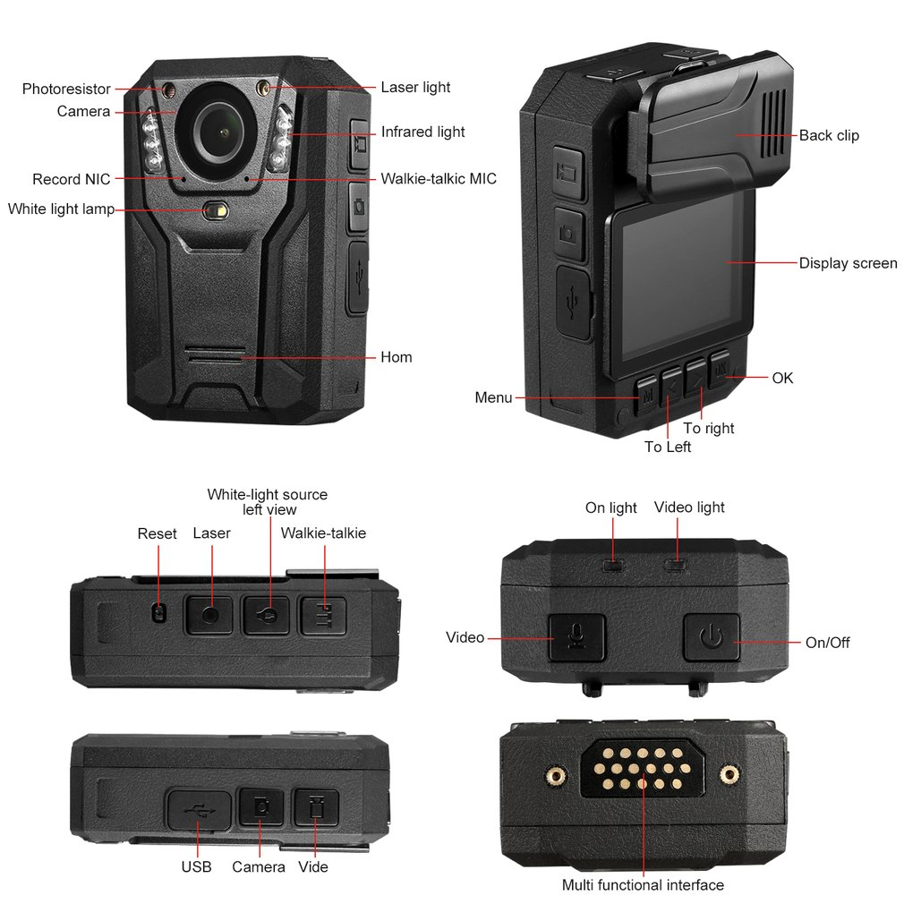LESHP 1296P Full HD Waterproof Police Body Camera Security Gadget With 2 Inch Display Night Vision GPS Motion detection UK Plug Pakistan