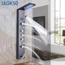Fırçalanmış nikel paslanmaz çelik 6 fonksiyonlu şelale yağmur biçimli duş paneli W/masaj sistemi küvet bacalı ve elduşlu duş başlığı seti