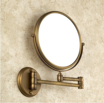 Antique bronze brass wall makeup mirror 8inch bathroom mirror antique decorative makeup mirrors