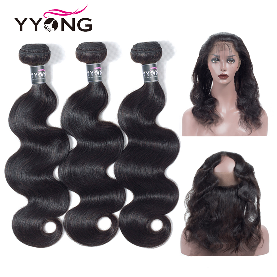 Yyong Brazilian Body Wave 360 Lace Frontal Closure With Bundle Remy Human Hair 3 Bundles With Closure Natural Lace Frontal