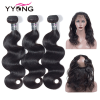 Yyong Brazilian Body Wave 360 Lace Frontal Closure With Bundle Human Hair 3 Bundles With Closure Natural Hairline Lace Frontal