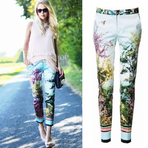 ffe66c6039 High Street Hits!! Bloggers Women s Sky Blue Photographic Print Cropped  Trousers Loose Fit Pants S M L 1393