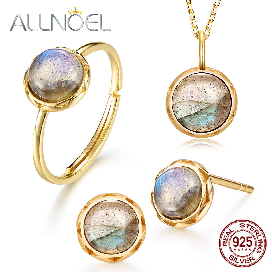 ALLNOEL 2019 Sterling 925 Silver Jewelry Sets 100% Natural Labradorite Earrings Ring Pendants Necklace Mystic Stone Cosmic Eyes