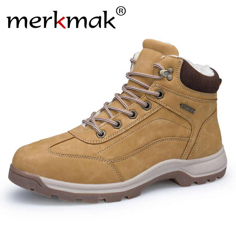 Merkmak Men Snow Boots Waterproof 2018 Winter Brand Super Warm Men s  Leather Rubber Snow Wool Boots f50a9102c4d5