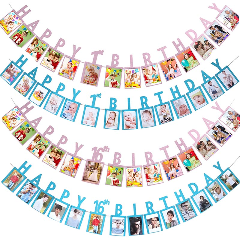 1 Set Happy Birthday Photo Banner DIY Paper Garland Banner For 1st 2nd 16/18/21/30/40/50/60 Year Old Birthday Party Decoration