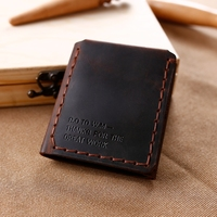 Trifold Genuine Leather Wallet Men Handmade Crazy Horse Leather Purse Men's Short Vintage Wallet with Coin Pocket