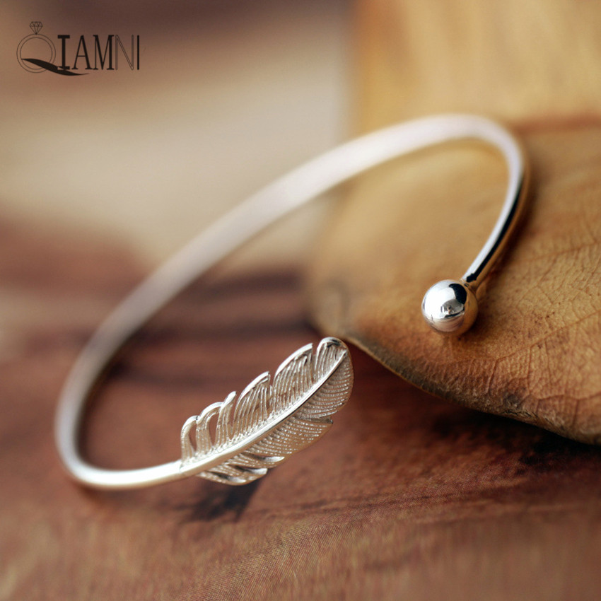 QIAMNI Beautiful 925 Sterling Silver Leaf Infinity Boho Cuff Bangles & Bracelets Accessories for Girls Women Gift Trendy Jewelry