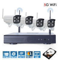 Plug And Play 4CH Wireless NVR CCTV System 720P IP Camera WIFI Waterproof IR Night Vison