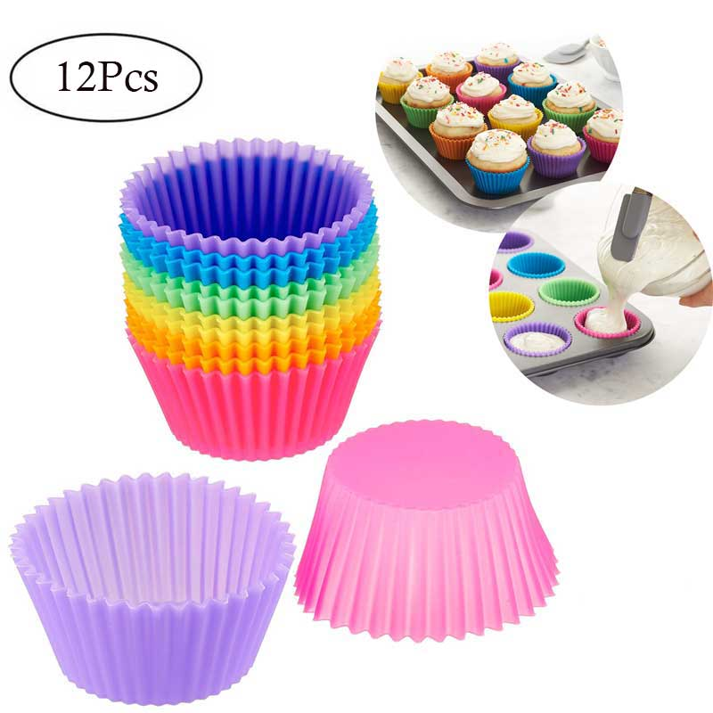 6/12Pcs Silicone Cupcake Mold Bakeware Cupcake Liner Reusable Muffin Baking Nonstick Moulds Kitchen Baking Accessories Random