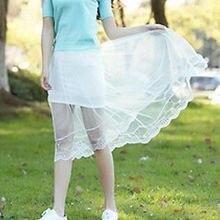 Nouveau Style Coréen De Mode Femmes Jupe D été Sheer Floral Cils Dentelle Élastique  Taille Haute Midi Jupe Saia Feminina Blanc n. 62d56726c81d