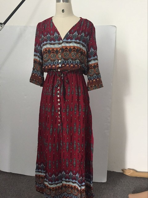 Long Women Dress Beach Sundresses Print Florals Button High Splits V neck Bohemain Style Robe Cocktail Party Dress 2017 LJ8799T