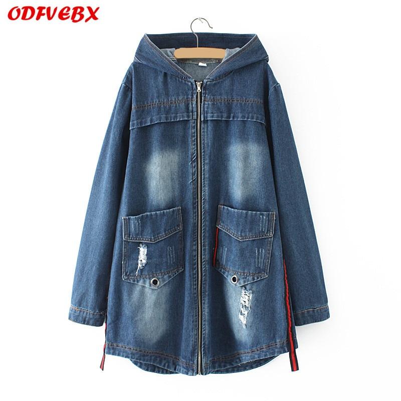 plus size XL 4XL blue women's Jeans Jacket 2019 Korean loose Denim jacket medium long denim hooded autumn women windbreaker coat