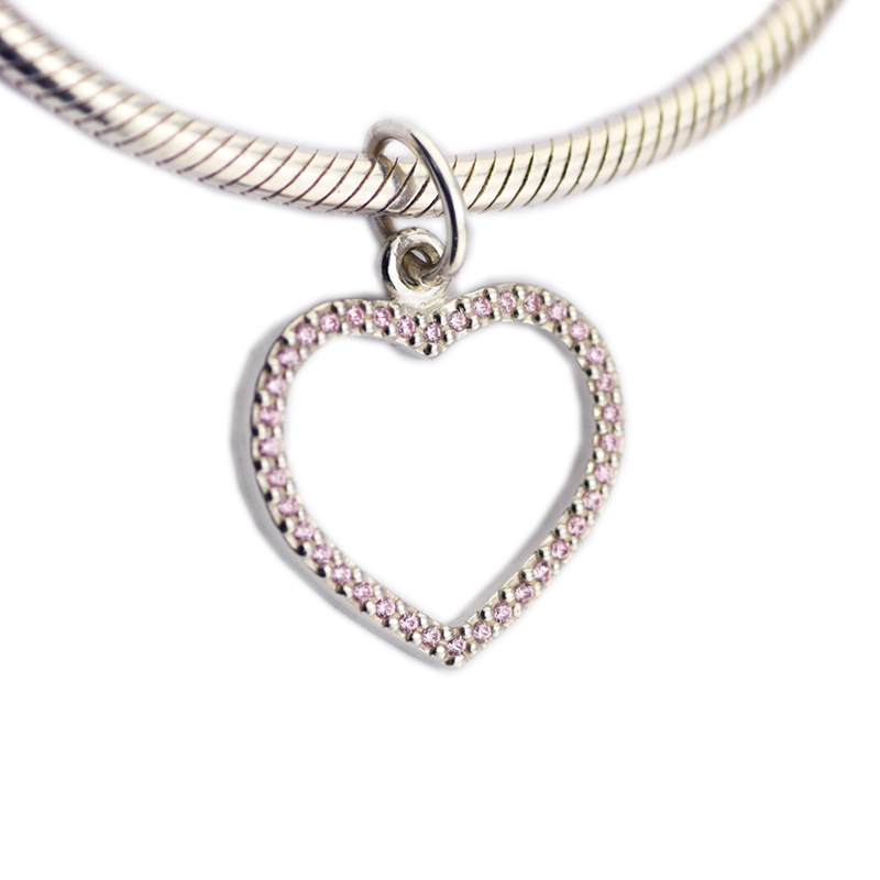 925 Sterling Silver Jewelry Pink Heart Chamrs Original Fashion DIY Beads Fits Bracelets For Jewelry Making