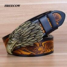 Ремень мужской из натуральной кожи, винтажный пояс из воловьей кожи в стиле панк, дизайнерский дизайн Eagle