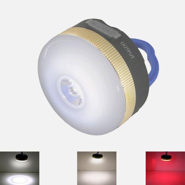USB Пополнения ся фонарик XPE + Красный Светодиодный водонепроницаемый Палатка свет Портативный Источник Питания Зарядное Устройство для Мобильного Телефона