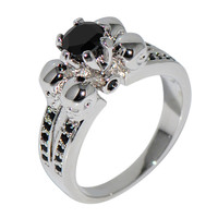 Punk Style Black Round Zircon Ring Vintage Anel White Gold Filled Skull Rings For Coupel Women