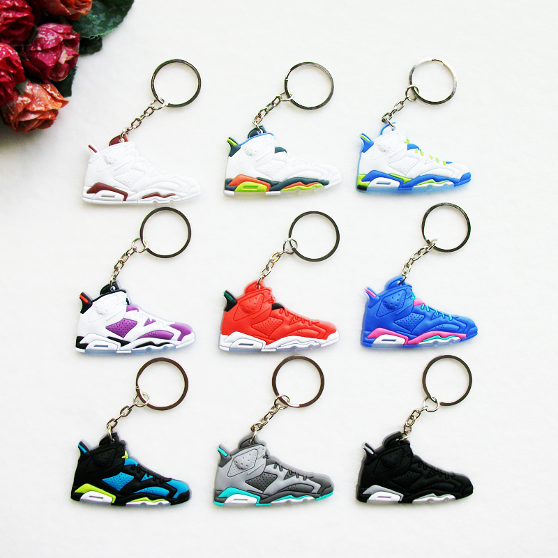 цена на Mini Silicone Jordan 6 Keychain Bag Charm Woman Men Kids Key Ring Pendant Gifts Sneaker Key Holder Accessories Shoes Key Chain