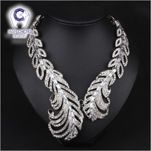 Fashion Luxury Full Rhinestone Carved Feather Created Crystal Silver Plated Statement Maxi Choker Necklace Women Jewelry collier