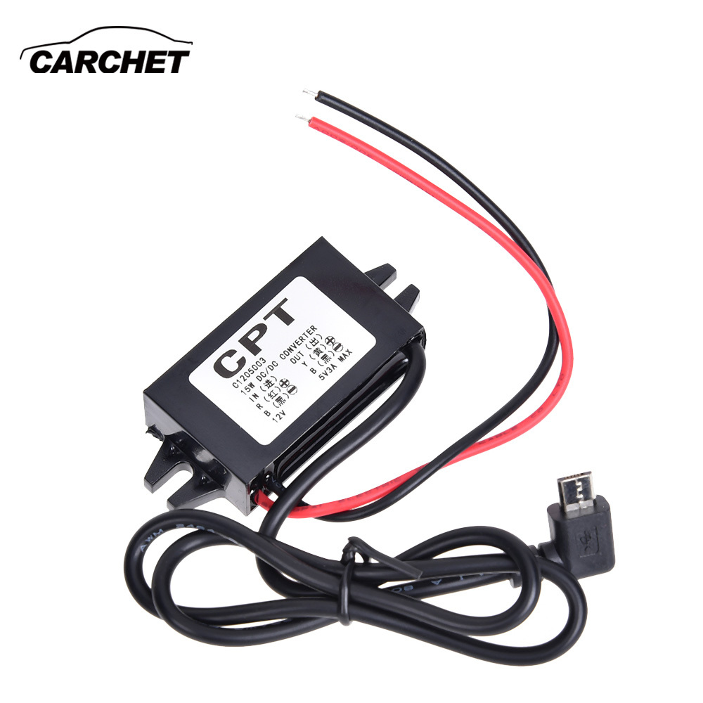 цена на CARCHET DC/DC Converter Regulator for Car 12V to 5V 3A Step Down Power Module Supply Micro USB Waterproof Converter 12v 5v