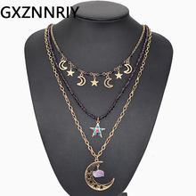 Hollow Moon Star Stone Pendant Necklace for Women Accessories Vintage Gold 3 Layered Crystal Beads Long Necklaces Jewelry Gift garnier набор эффективное очищение