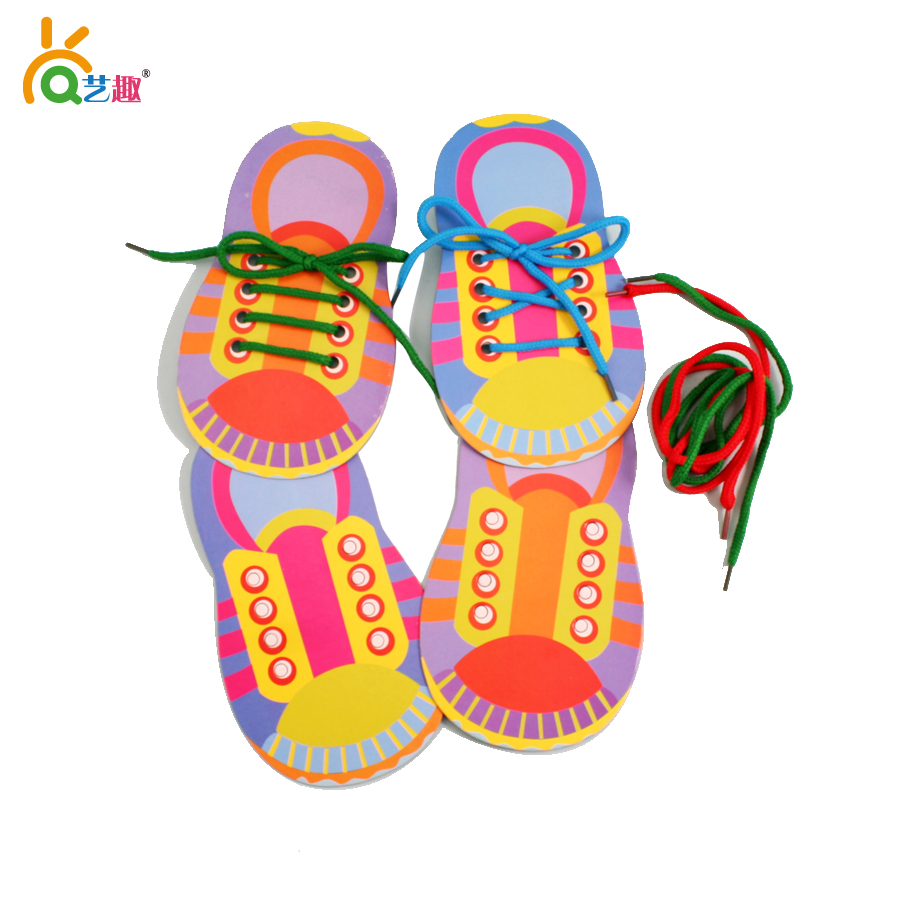 6 PCs baby cardboard shoes with rope/ 3D diy kids child lacing shoes toys/ baby early learning educational toys, free shipping