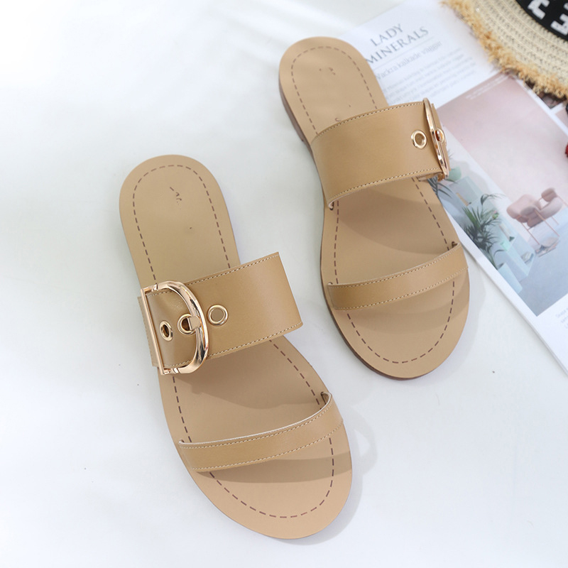 Flat bottom slippers female summer belt buckle towing students anti-skid non-slippery beach cool slippers shoes women