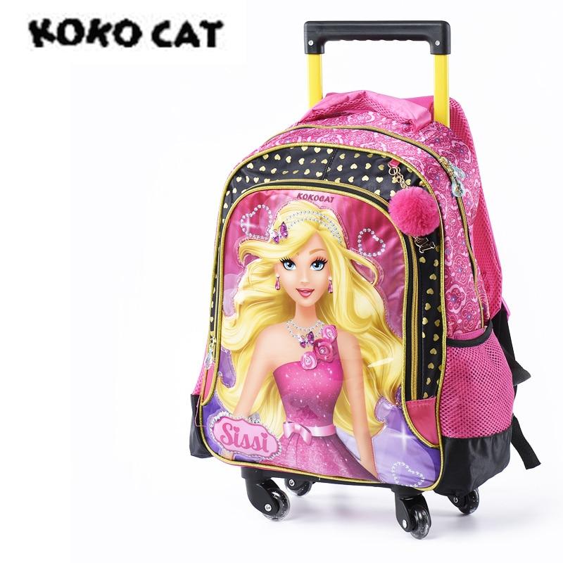 Girls Boys kids School Bags Wheels Trolley Rolling Backpack Princess Book bag