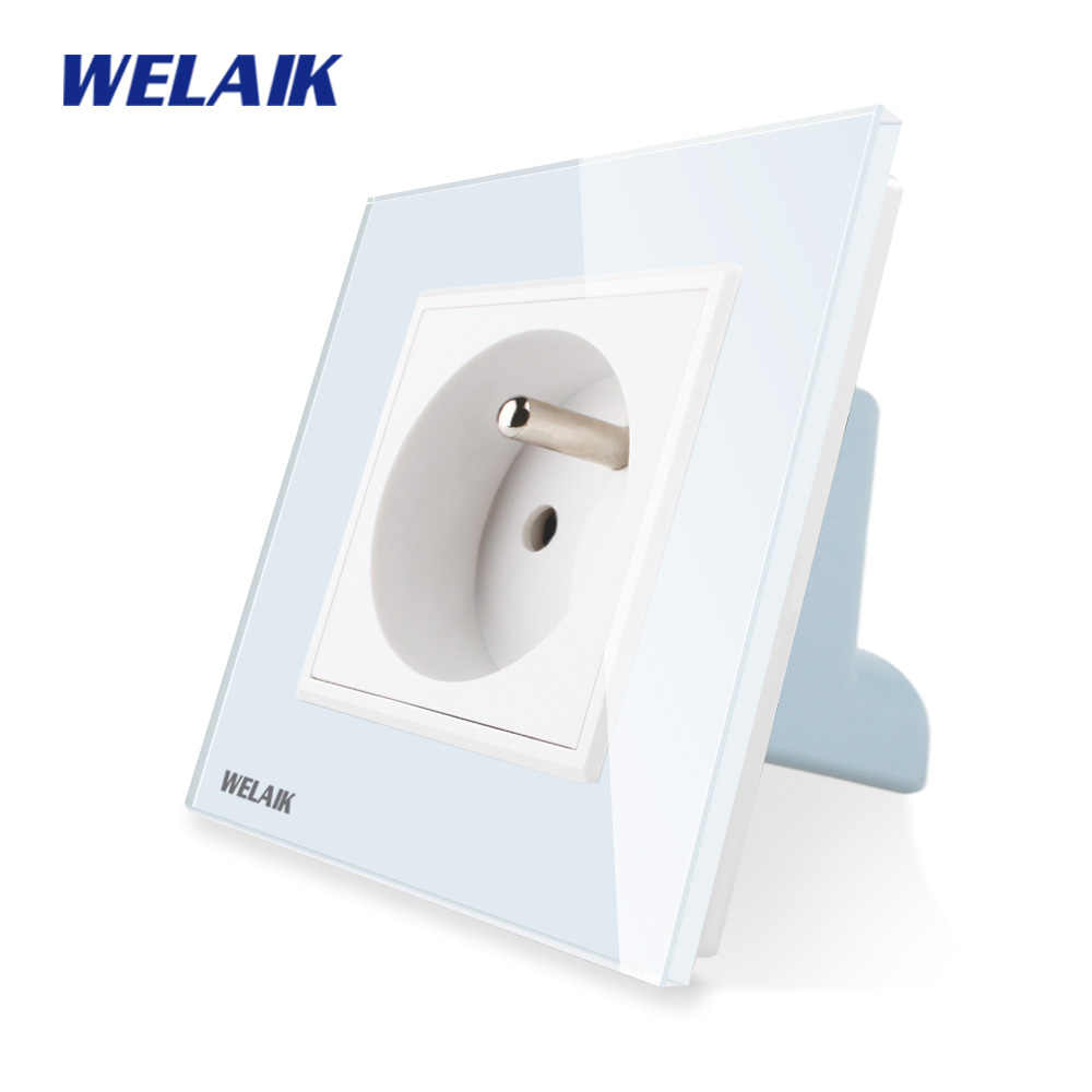 WELAIK Manufacturer-Glass Panel-Wall Socket-Wall-Outlet White-Black France-Standard Power-Socket AC110~250V A18FW/B