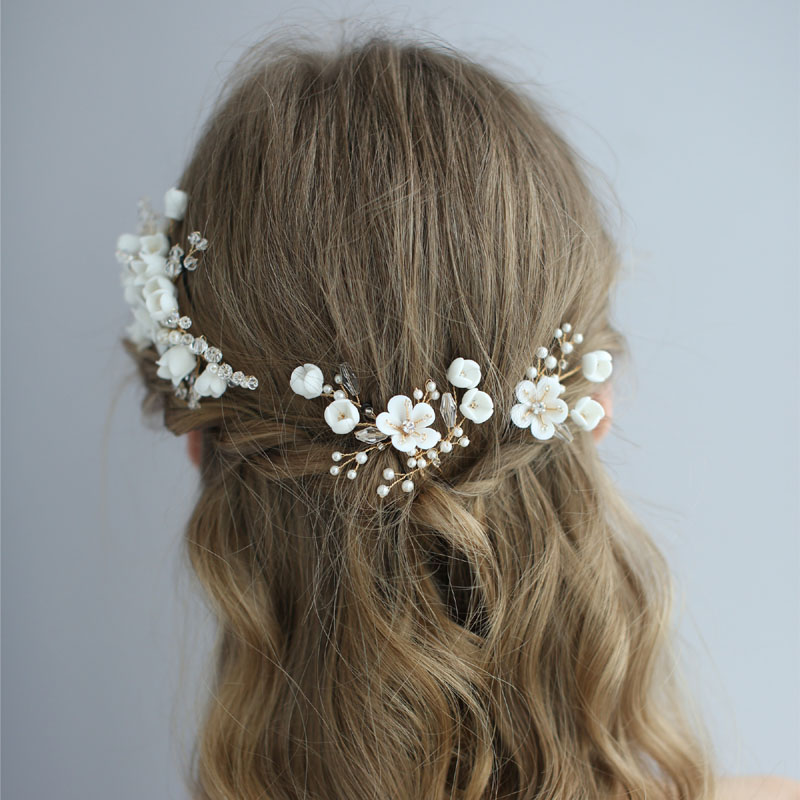 SLBRIDAL Handmade Crystal Rhinestone Simulated Pearls Ceramic Flower Bridal Wedding Hair Comb Hair Pins Stickers Women Jewelry in Hair Jewelry from Jewelry Accessories