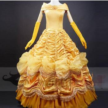 plus size XS-3XL Hot Sale Princess Belle Costume Adult Women Beauty And The Beast Costume Fantasia Cos For Halloween Costumes