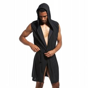 Albornoz para hombre, kimono de seda de hielo, albornoz con capucha para hombre, pijama de szlafrok, ropa de dormir sexy para hombre, traje de baño para hombre