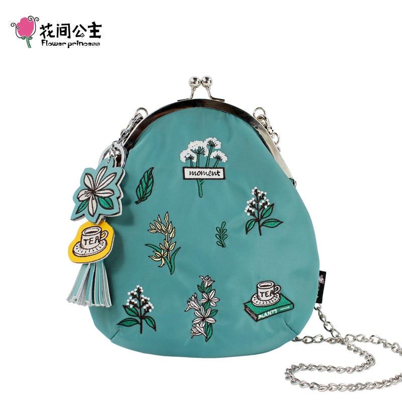 Flower Princess Embroidery Chain Crossbody Bag Original Designer Women Shoulder Bags Nylon Lady Bag Metal Clip