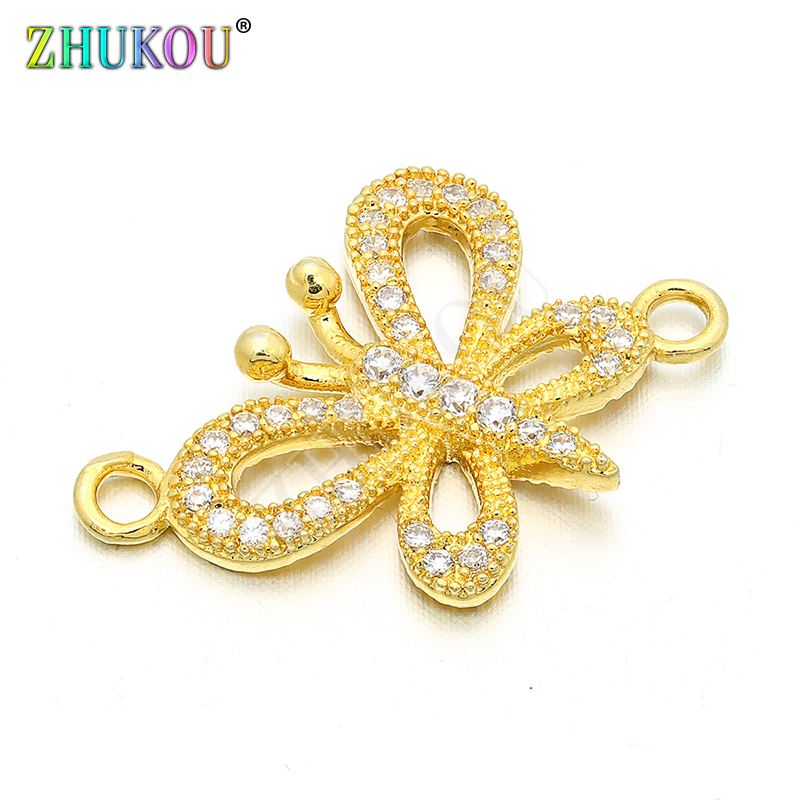 17*23mm Handmade Brass Cubic Zirconia Butterfly Connectors DIY Jewelry Bracelet Necklace Making, Hole: 1.8mm, Model: VS53